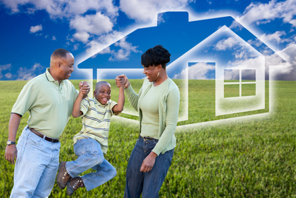 Family Over Grass Field, Clouds, Sky and House Icon